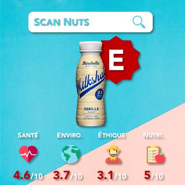Barebells milkshake vanilla scannuts score scannuts