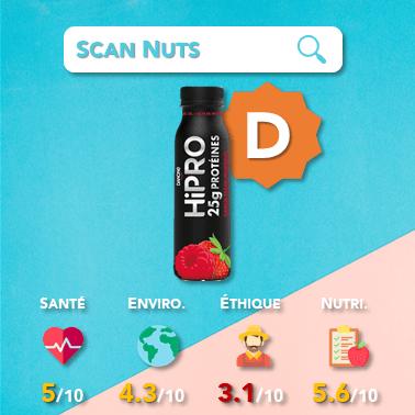 Danone hipro yaourt à boire fraise framboise score scannuts