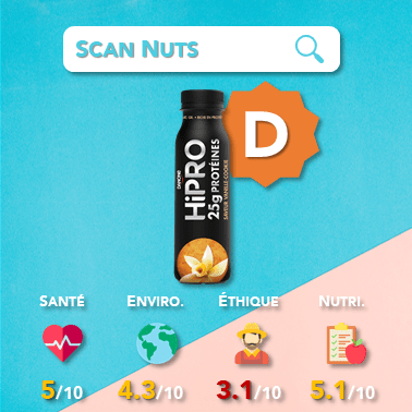 Danone hipro yaourt à boire vanille cookie score scannuts