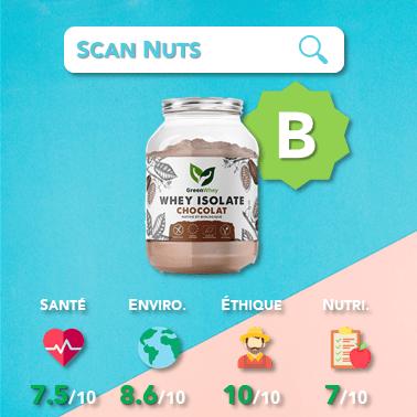 Greenwhey whey isolate chocolat score scannuts
