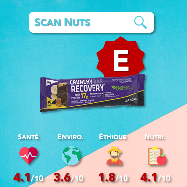 Aptonia crunchy protein bar recovery banane score scannuts