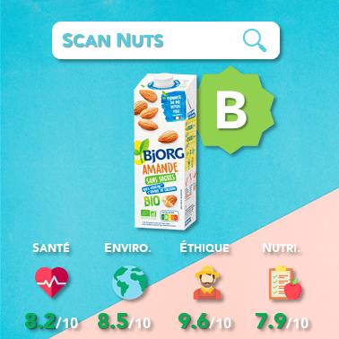 Bjorg lait amande bio sans sucre score scannuts