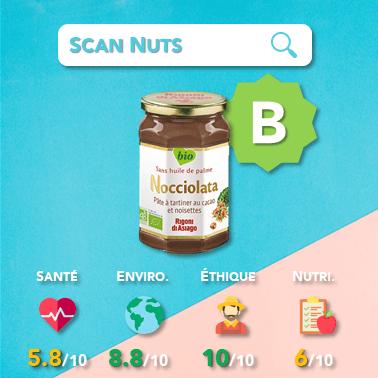 Nocciolata pâte à tartiner cacao et noisettes score scannuts