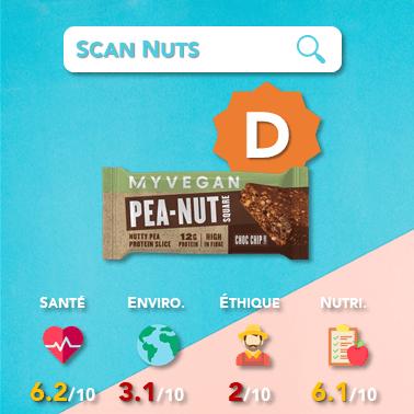 Myprotein myvegan peanut square choc chip score scannuts