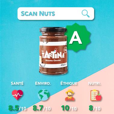 sportnbio pâte à tartiner noisettes chocolat score scannuts