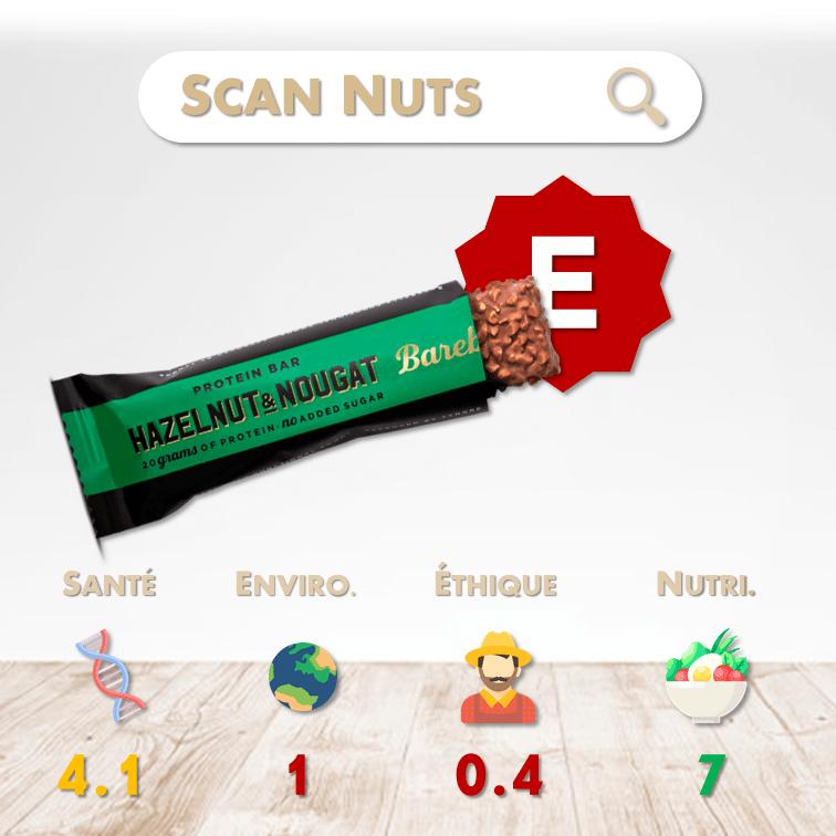 Barebells protein bar hazelnuts nougat score scannuts