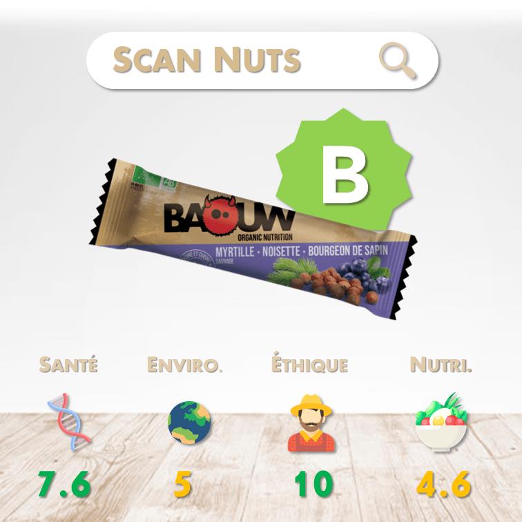 Baouw barre énergétique myrtille noisette bourgeon sapin score scannuts