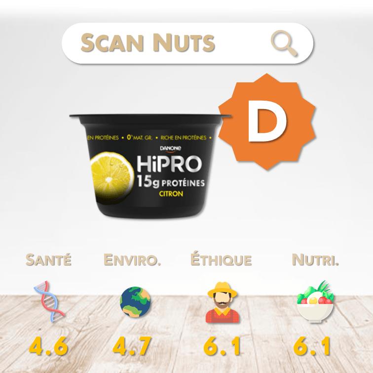 Danone Hipro citron score scannuts