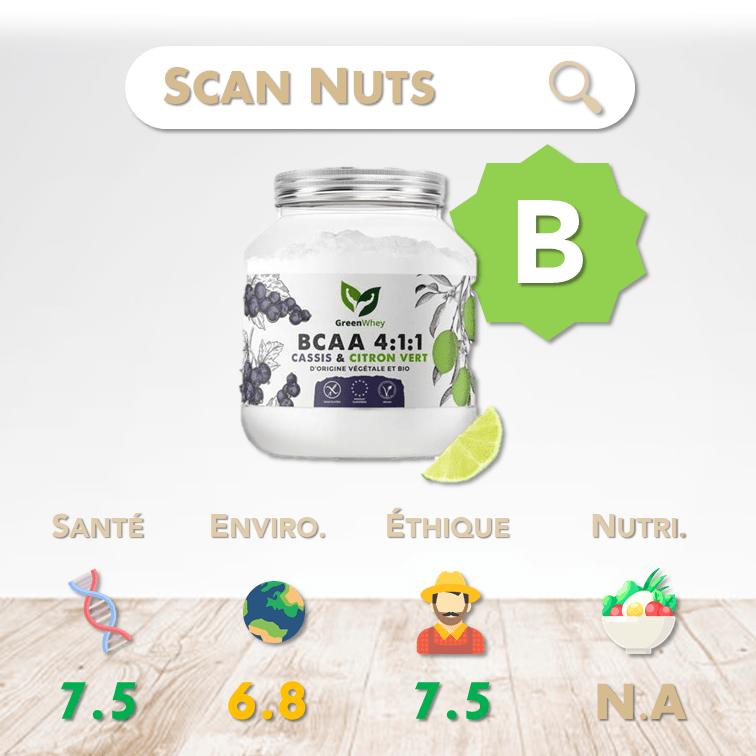 Greenwhey bcaa 4.1.1 cassis citron vert score scannuts