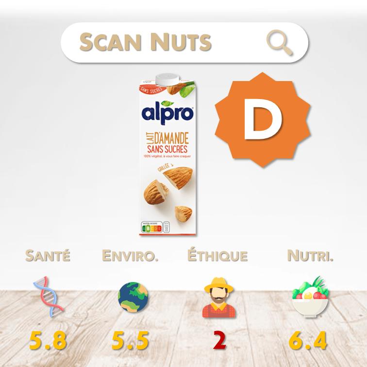 Alpro amande grillée sans sucres score scannuts