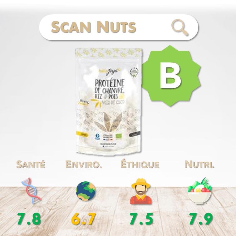 HelloJoya protéine coco chanvre riz pois bio score scannuts
