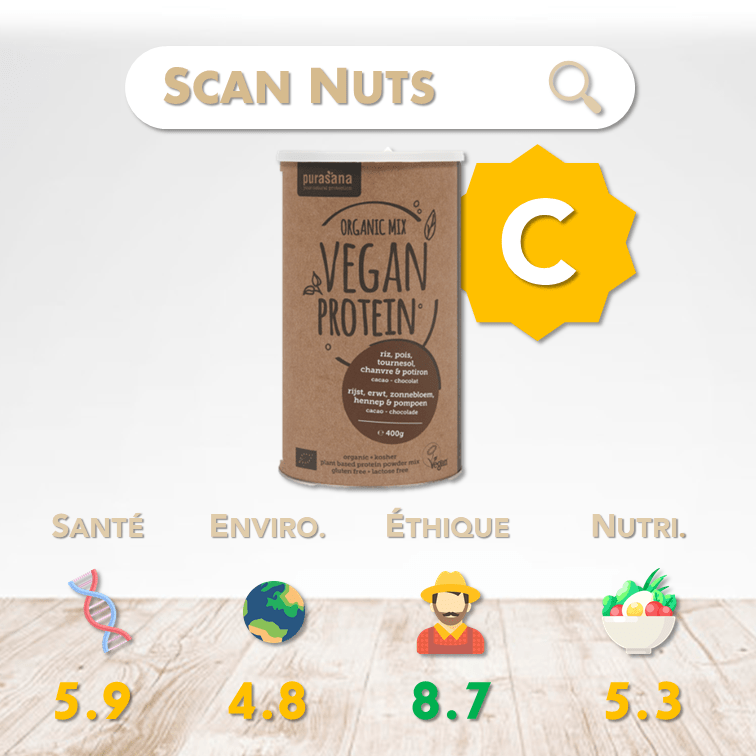 Purasana organic proteine chocolat mix score scannuts