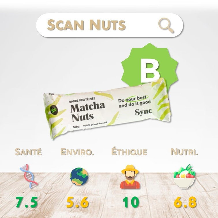 Sync Protein bar matcha nuts score scannuts