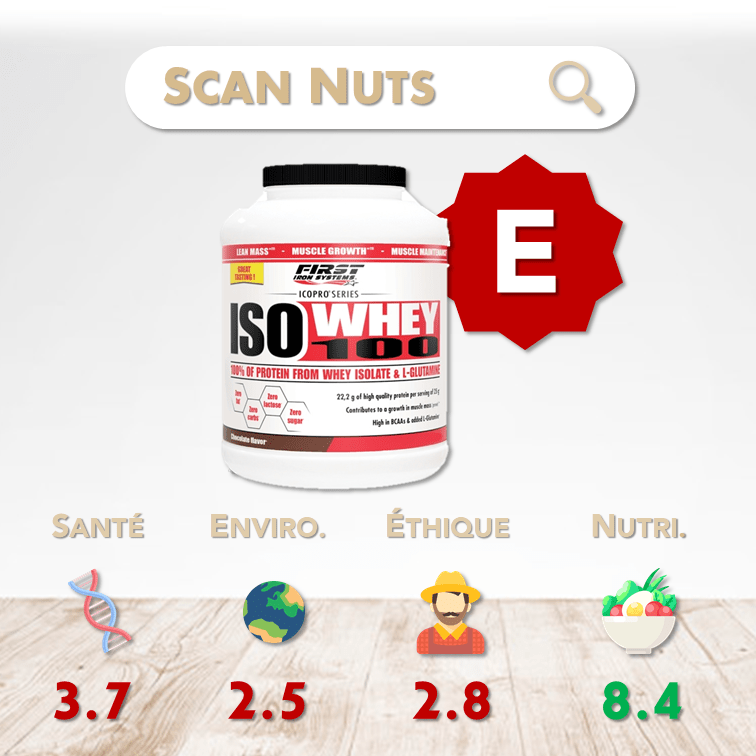 First Iron System iso whey 100 chocolate score scannuts