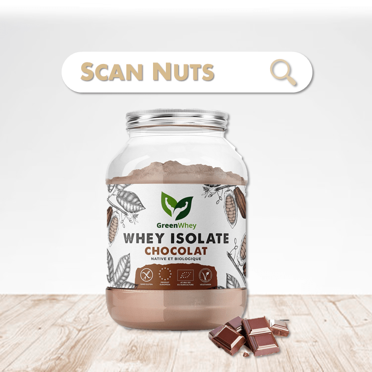 Greenwhey isolate chocolat native biologique scannuts