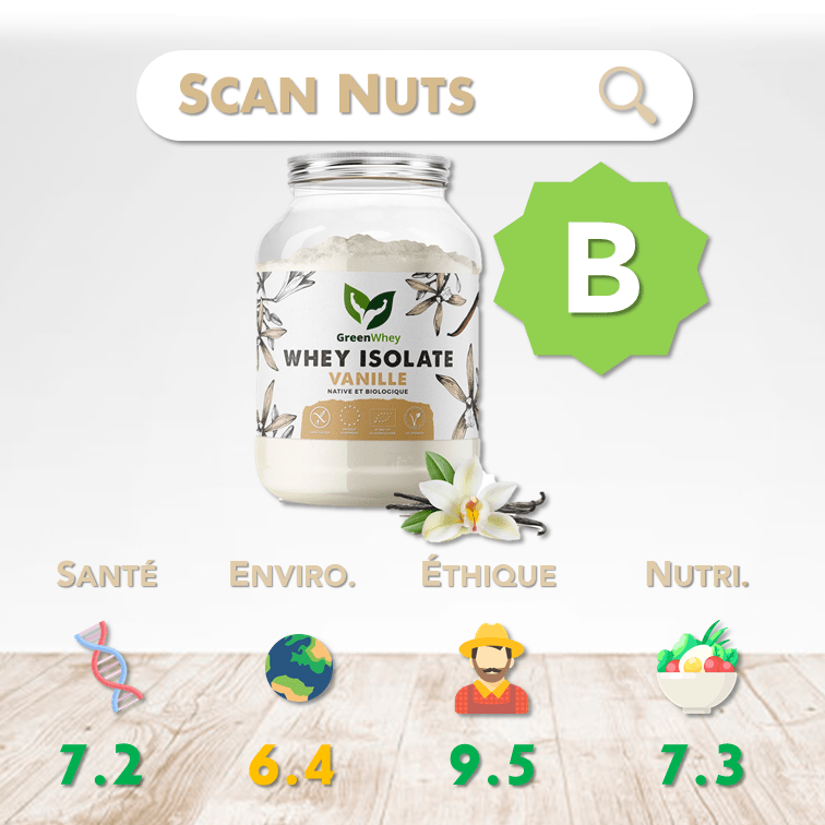 Greenwhey isolate vanille native biologique score scannuts