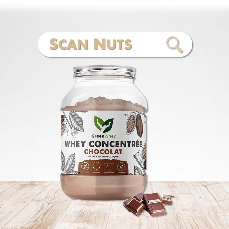 Greenwhey protéine chocolat concentrée scannuts