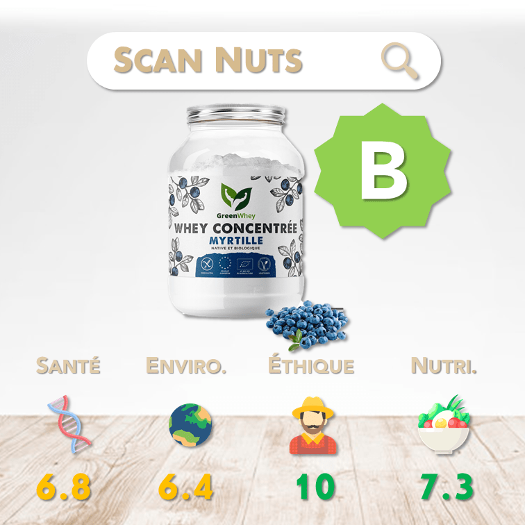 Greenwhey protéine myrtille concentrée score scannuts