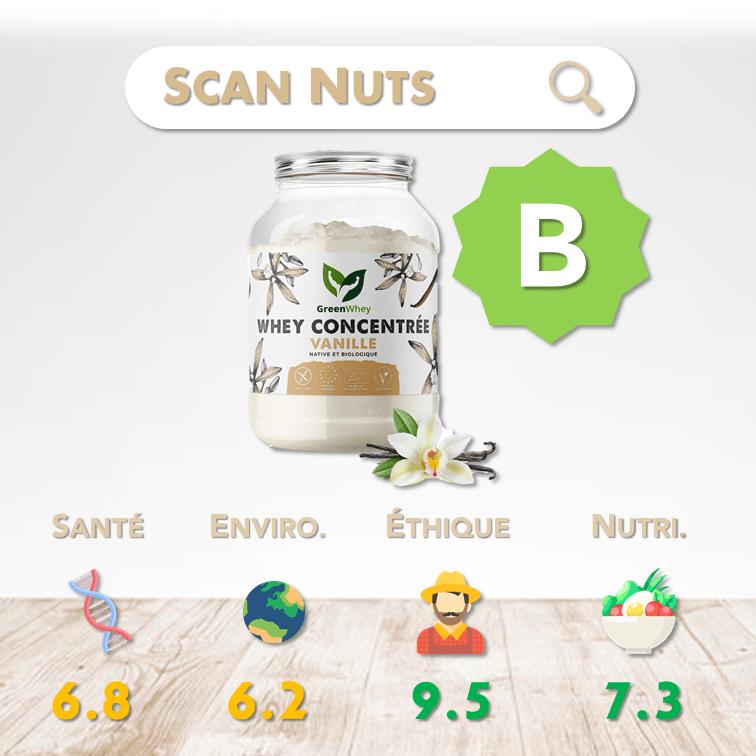 Greenwhey protéine vanille concentrée native et biologique score scannuts