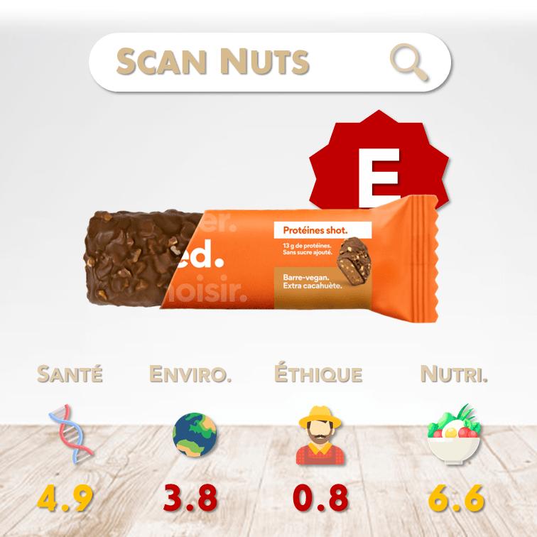 Feed protéines shot barre vegan cacahuète score scannuts