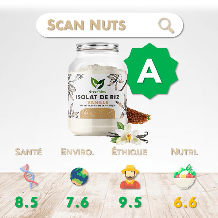 Greenwhey isolat riz vanille bio score scannuts
