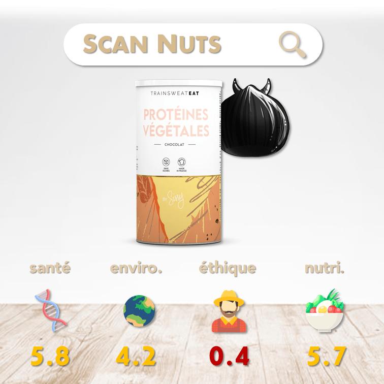 Sissy Mua Trainsweateat protéines végétales chocolat score scannuts